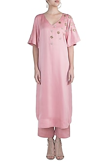 Dusty Pink Embellished Kaftan With Pants by Amaira