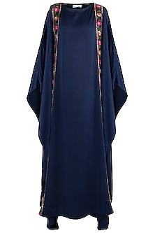 Navy Blue Embroidered Kaftan by Amaira