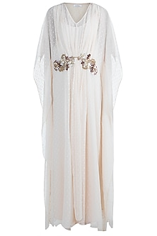 Pale Peach Embellished Kaftan With Inner by Amaira