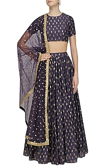 Purple and Gold Printed Motifs Lehenga Set by Amaira