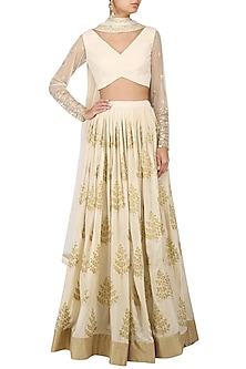 Pale Pink Embroidered Lehenga Set by Amaira