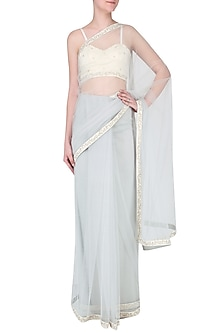 Off-White Embroidered Blouse and Grey Saree Set by Amaira
