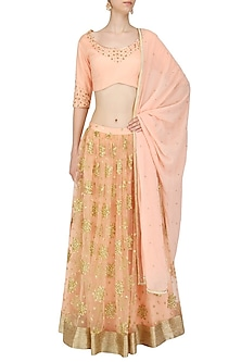 Peach Floral Embroidered Lehenga Set by Amaira