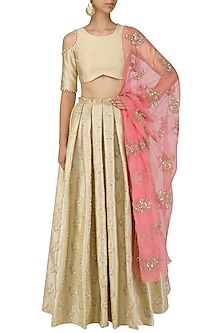 Gold Floral Embroidered Lehenga and Blouse Set by Amaira