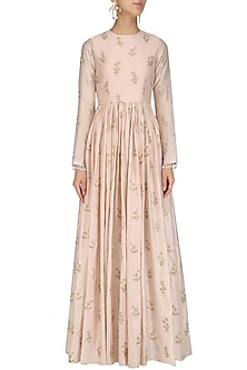 Blush Pink Floral Embroidered Anarkali by Amaira