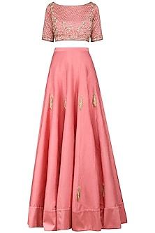 Dusty Pink Embroidered Lehenga Set by Amaira