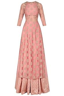 Dusty Pink Embroidered Kurta Lehenga Set by Amaira