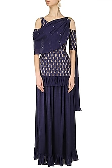 Darkslate Blue Cold Shoulder Embroidered Kurta Sharara Set by Amaira
