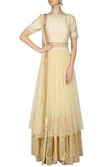 Cream Embroidered Anarkali Lehenga Set by Amaira