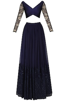 Darkslate Blue Embroidered Lehenga Set by Amaira