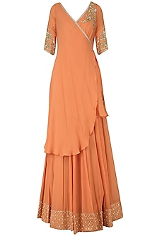 Dusky Orange Angrakha Lehenga Set by Amaira