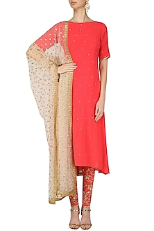 Coral Red Embroidered Kurta Set by Amaira