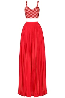 Red Embroidered Lehenga Set by Amaira