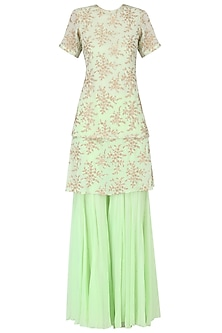 Pista Green Embroidered Kurta with Gharara Set by Amaira