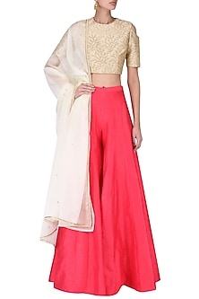 Beige Embroidered Top with Palazzo Pants Set by Amaira