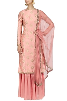 Dusky Pink Embroidered Kurta and Garara Set by Amaira