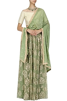 Beige Off Shoulder Blouse and Olive Green Lehenga Set by Amaira