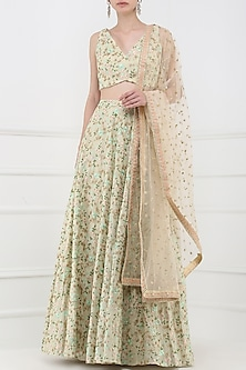 Beige Embroidered Lehenga Set by Amaira