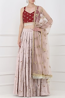 Wine Embroidered Blouse with Lilac Lehenga Set by Amaira