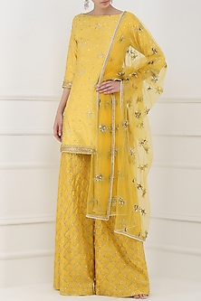 Butter Yellow Embroidered Kurta with Sharara Pants Set by Amaira