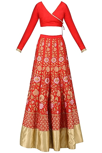 Red Banarasi Embroidered Lehenga Set by Amaira
