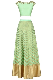 Mint Green Banarasi Embroidered Lehenga Set by Amaira