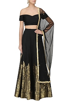 Black Banarasi Embroidered Lehenga Set by Amaira