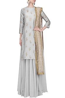 Grey Floral Embroidered Lehenga Set by Amaira