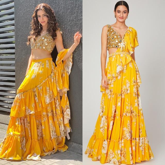 Mango Yellow Printed Lehenga Saree Set With Belt by Neha Chopra Tandon
