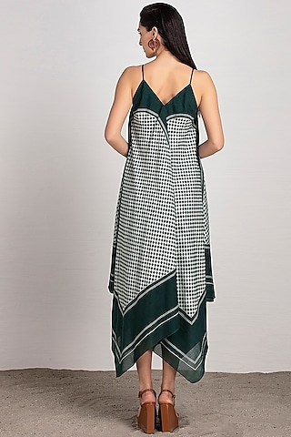Forest Green Printed Dress by AMPM