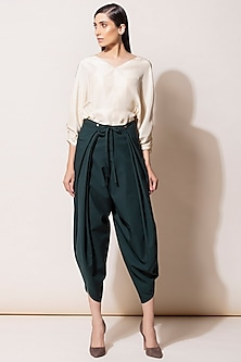 Bottle Green Pleated Dhoti Pants by AM:PM