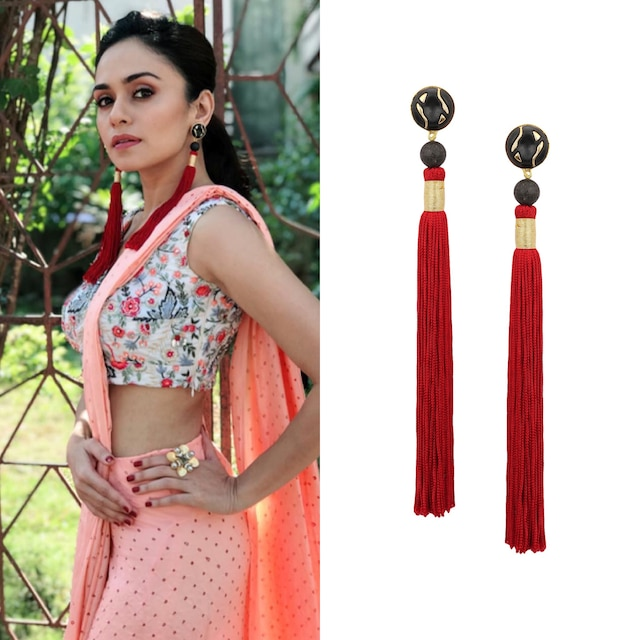 Gold Plated Black Stone and Red Silk Tassel Earrings by Valliyan by Nitya Arora