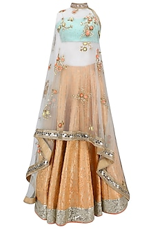 Orange Handwoven Brocade Lehenga with Blue Bustier and Floral Work Cape by Amit Sachdeva