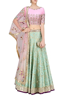 Turquoise Blue Handwoven Brocade Lehenga with Pink Embroidered Blouse by Amit Sachdeva
