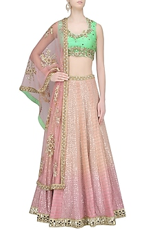 Pink Shaded Sequins and Thread Work Lehenga with Mint Green Blouse by Amit Sachdeva