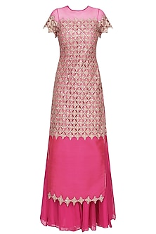 Hot Pink Embroidered Kurta and Sharara Pants Set by Amit Sachdeva