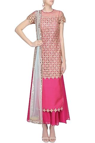 Hot Pink Embroidered Kurta and Sharara Pants Set by Amit Sachdeva