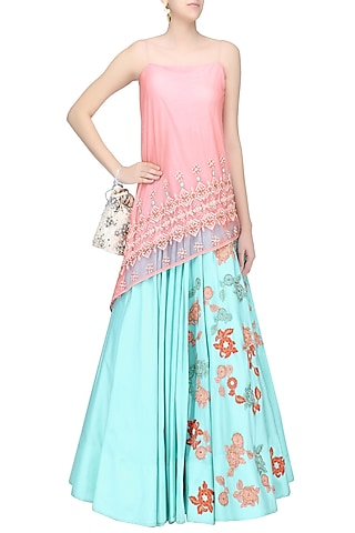 Salmon Pink Asymmetrical Embroidered Tunic and Floral Work Skirt Set by Amit Sachdeva