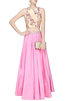 Biege Gold Floral Embroidered Crop Top and Pink Skirt Set by Amit Sachdeva