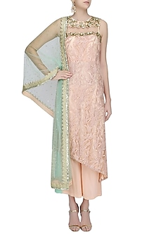 Peach Embroidered A Line Kurta and Palazzo Pants Set by Amit Sachdeva