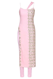 Powder Pink Embroidered Straight Kurta and Pants Set by Amit Sachdeva