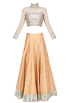 Nude Embroidered Crop Top and Brocade Lehenga Set by Amit Sachdeva
