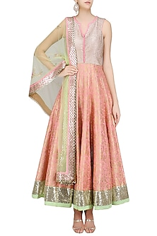 Pink Paisley Pattern Handwoven Brocade Anarkali Set by Amit Sachdeva