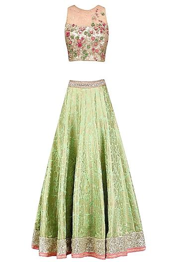 Green Paisley Pattern Handwoven Brocade Lehenga Set by Amit Sachdeva