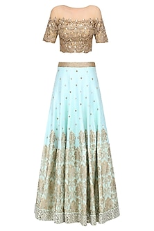 Powder Blue Embroidered Skirt and Gold Mirror Work Blouse Set by Amit Sachdeva