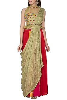 Muli Colored Embroidred Draped Saree Set by Amit Sachdeva