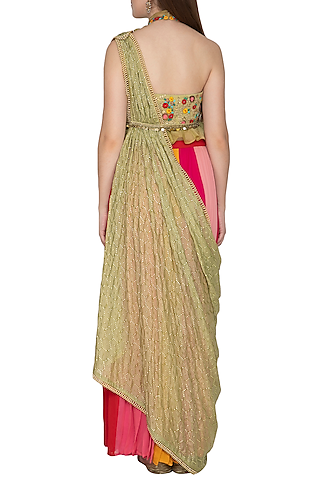 Muli Colored Embroidred Draped Saree Set by Amit Sachdeva