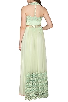 Mint Embroidered Sheer Long Top With Pants by Amit Sachdeva