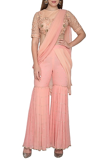 Peach Embroidered Pant Saree Set by Amit Sachdeva