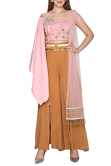 Blush Pink Embroidered Palazzo Set With Belt by Amit Sachdeva